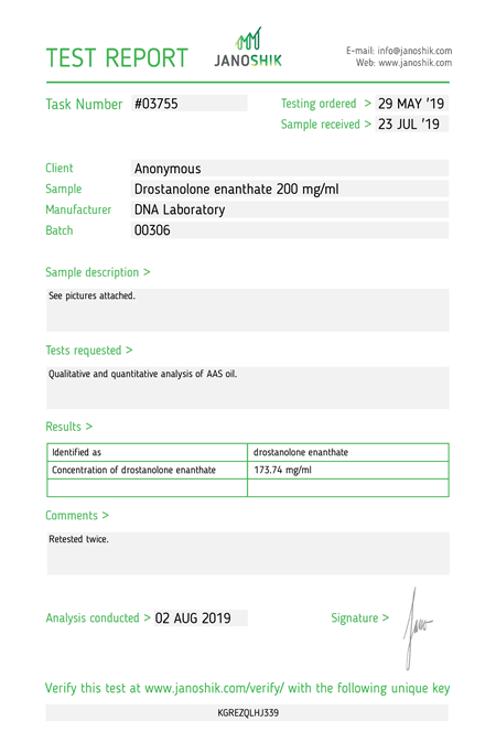 Test Report drostanolone enanthate