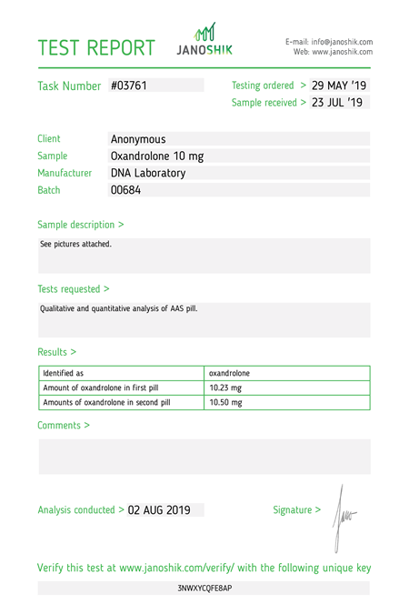 Test Report oxandrolone