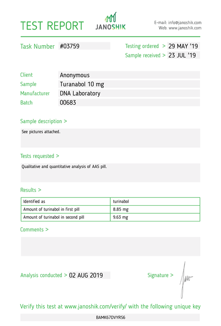 Test Report turanabol 10mg